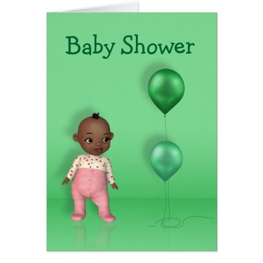 African American Girl Baby Shower Greeting Card