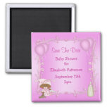 African American Girl Baby Shower Save The Date Fridge Magnets