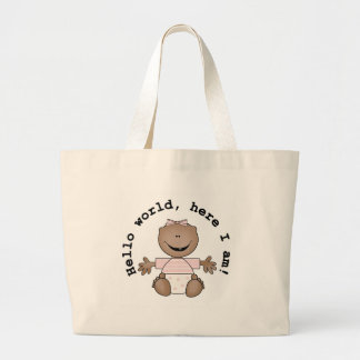 African American Girl Hello World Large Tote Bag