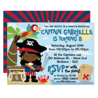 African American Girl Pirate Birthday Invitations