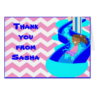 African American Girl Pool Thank You Note Card