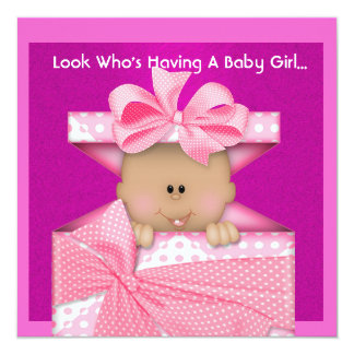 AFRICAN AMERICAN GIRLS BABY SHOWER  INVITATION