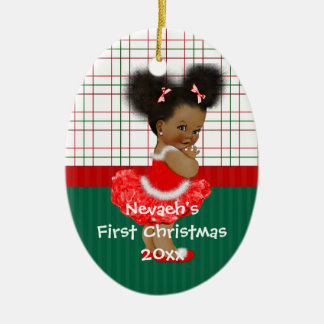 African American Girl's First Christmas Ceramic Ornament