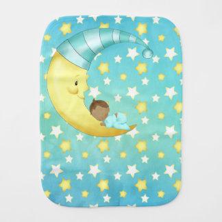 African American Goodnight Nighttime Stars Moon Burp Cloth