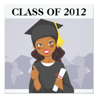 African American Graduate 5.25x5.25 Square Paper Invitation Card