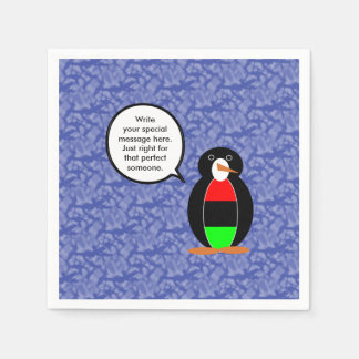 African American Holiday Mr. Penguin Disposable Napkin