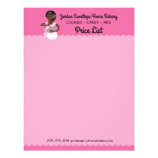 African American home bakery price list letterhead