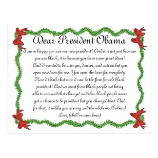 African-American Kids Letter to President Obama Postcard