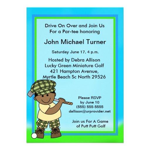 African American KidsGolf Birthday Invitation