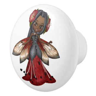 African American Ladybug Faerie Party Ceramic Knob
