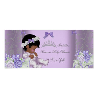 African American Lavender Gray Baby Shower Girl Poster