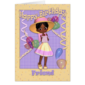 African American Little Girl Friend Birthday Card