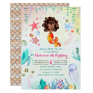 African American Mermaid Party Invitation
