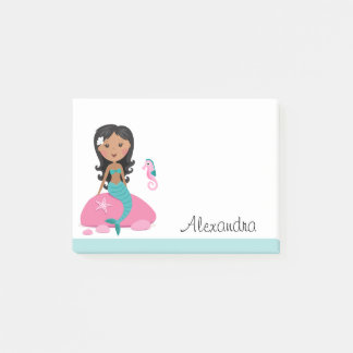 African American mermaid personalized name Post-it Notes
