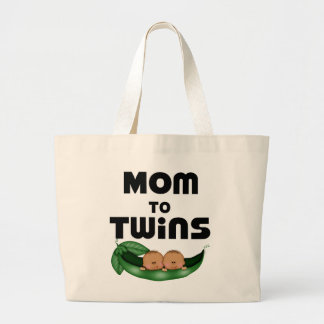 African American Mom to Twins Large Tote Bag