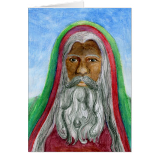 African American Old World Santa Card