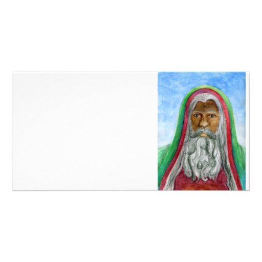 African American Old World Santa Photo Greeting Card