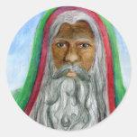 African American Old World Santa Round Sticker