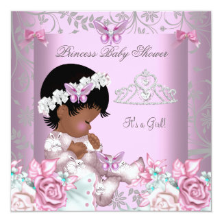 """African American Pink Butterfly Baby Shower Girl 5.25"""" Square Invitation Card"""