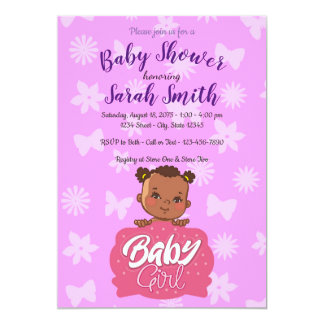 African American Pink Girl Baby Shower Card