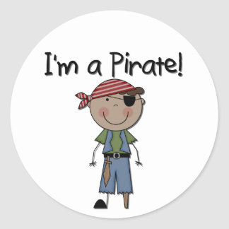 African American Pirate Boy T shirts and Gifts Classic Round Sticker