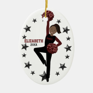 African American Pom Squad in Black & Maroon Ceramic Ornament