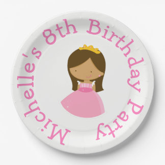 African American Princess and Dragon Birthday 9 Inch Paper Plate