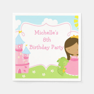 African American Princess and Dragon Birthday Paper Napkins