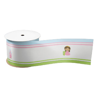 African American Princess and Dragon Birthday Satin Ribbon