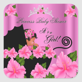 African American Princess Baby Shower Girl Flowers Square Sticker