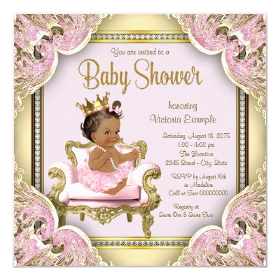pink gold african american princess baby shower card | zazzle, Baby shower invitations