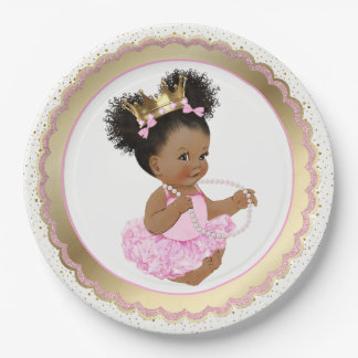 African American Princess Baby Shower Paper Plate