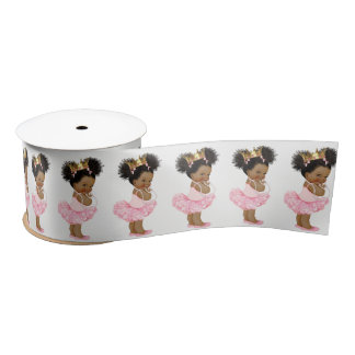 African American Princess Baby Shower Ribbon Satin Ribbon