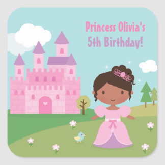 African American Princess Birthday Party Stickers