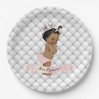 African American Princess Diamonds Blush Pink 9 Inch Paper Plate