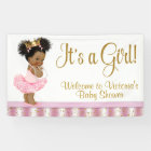 African American Princess Girl Baby Shower Banner