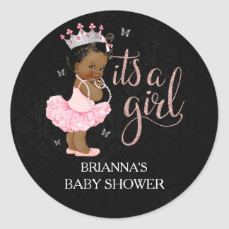 African American Princess It's a Girl Baby Shower Round Sticker