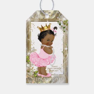 Custom african american princess baby shower craft supplies for african american princess pink tutu baby shower gift tags negle Choice Image
