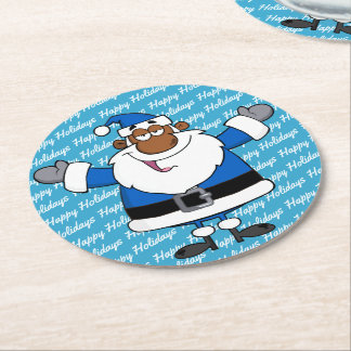 African American Santa Christmas Hanukkah Kwanzaa Round Paper Coaster