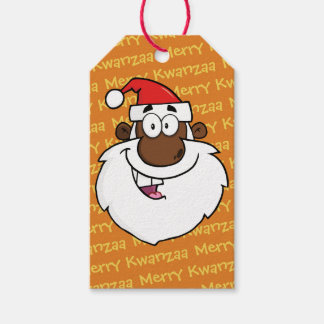 African American Santa Christmas Kwanzaa Greetings Gift Tags