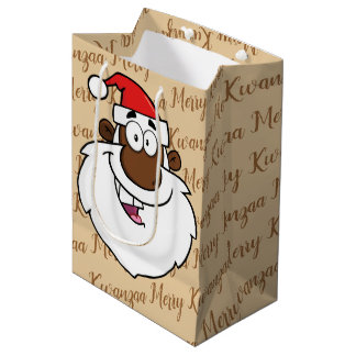 African American Santa Christmas Kwanzaa Greetings Medium Gift Bag