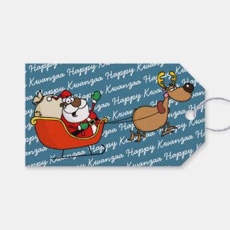 African American Santa Claus Kwanzaa Celebration Gift Tags