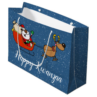 African American Santa Claus Kwanzaa Celebration Large Gift Bag