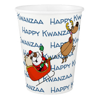 African American Santa Claus Kwanzaa Celebration Paper Cup
