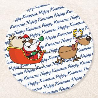 African American Santa Claus Kwanzaa Celebration Round Paper Coaster
