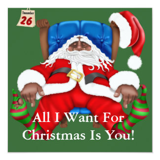 African American Santa Clause Christmas Invitation