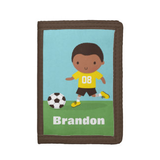 African American Soccer Boy Personalized Wallet