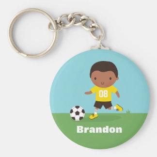 African American Soccer Footballer Boy Keychain