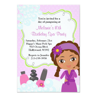 African American Spa Birthday Party Invitation