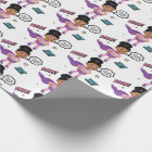 "African American Supergirl Wrapping Paper 30"" x 6"